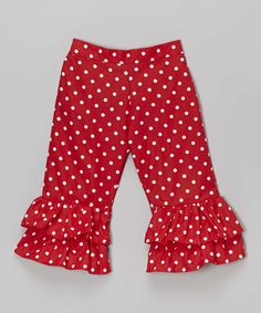 Love this Red Polka Dot Ruffle Pants - Toddler & Girls by Ruby and Rosie on #zulily! #zulilyfinds
