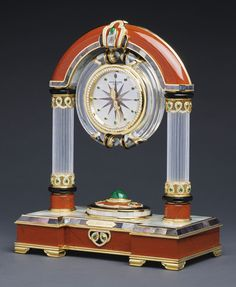 "PATEK PHILIPPE ""MAGICAL JASPER"" AN IMPORTANT AND MAJESTIC YELLOW GOLD, DIAMOND, EMERALD, GREY AND WHITE MOTHER-OF-PEARL, ROCK CRYSTAL, JASPER AND ONYX MANTEL CLOCK MADE IN 1996  Sotheby's"