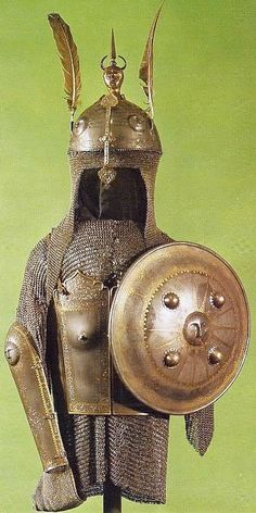 Persian khula-khud (helmet),  char-aina (chahar-aina, chahar a'ineh), literally the four mirrors, chest armor with four plates, bazu band (vambrace/arm guards), zirah (mail shirt),  sipar (shield).