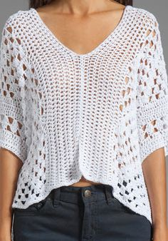 Pretty Lacy Crochet top with layout diagram and granny square chart. Not much to go on. Appears to be 2 identical rectangles which are then joined. ༺✿ƬⱤღ  https://www.pinterest.com/teretegui/✿༻