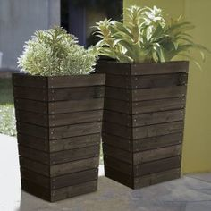 Coral Coast Dark Brown Stained Slatted Base Outdoor Planter - 16 x 16 x 27.5 in.