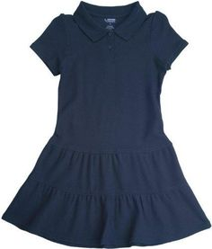 French Toast School Uniform Girls Ruffled Pique Polo Dress Navy X-Large (14/16)