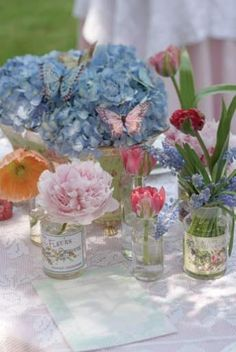 pretty flowers and subtle butterfly theme