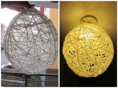 Zelfgemaakte lamp van behanglijm en wol. (DIY lamp from wallpaper glue and wool)