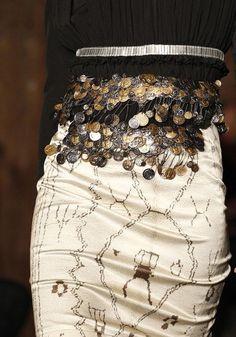 Black Blouse and White Skirt. Belt.