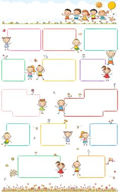 Page Borders, Borders And Frames, Printable Border, School Frame, School Labels, Cute Frames, Printable Crafts, School Gifts, Cartoon Kids