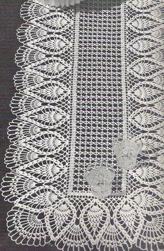 crochet doily, center piece ,table runner PATTERN (chart with instructions) Crochet Table Runner Pattern, Free Crochet Doily Patterns, Crochet Doily Diagram, Crochet Motifs, Crochet Tablecloth, Crochet Chart, Thread Crochet, Filet Crochet, Crochet Designs