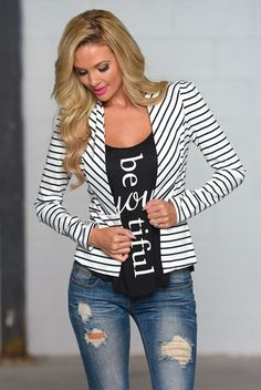 Yours Truly Striped Blazer - White