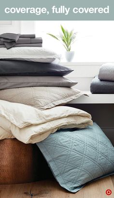 Our Threshold sheets totally conquer bed-making: the fitted sheet comes with an extra row of elastic and super deep pockets, so those corners go on easy and stay that way. Plus, the sides, top and bottom are labeled. Yes, labeled.