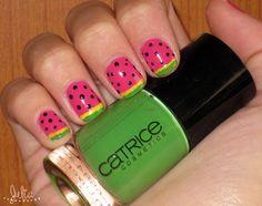 Nails Art sandía / Mes de las frutas