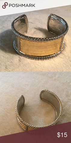 Cuff bracelet Gold and silver. The gold is hammered and the silver has a rope detail. Perfect for casual or for a statement piece! Jewelry Bracelets