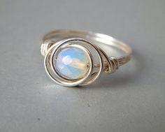 SALE Opal Ring Sterling Silver Opalite Ring by deezignstudio