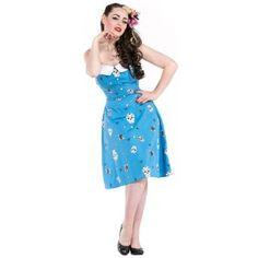 Dead Threads Blue Sugar Skull Tattoo Rockabilly Vintage Style Party Prom Dress,£29.99