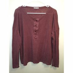 Zara rustic purple long sleeve tee Brand new condition, only worn a few times. Buttons up on front. Super comfy Zara Tops Tees - Long Sleeve