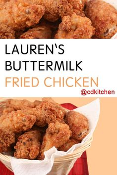 Lauren's Buttermilk Fried Chicken - A long bath in buttermilk is the secret to this fantastic fried chicken. Chicken pieces, buttermilk-bathed and shaken in spice mix, fry up to achieve a crunchy coating but stay juicy inside. Just think of that first crispy bite! | CDKitchen.com