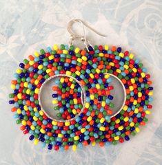 Seed Bead Earrings Rainbow Bubbles Beadwork Hoop Earrings - Big Bold Bright Colorful Beaded Hoops by WorkofHeart on Etsy Seed Bead Jewelry, Bead Jewellery, Seed Bead Earrings, Seed Beads, Beaded Jewelry, Big Earrings, Etsy Earrings, Earrings Handmade, Hoop Earrings
