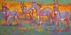 """""""Field of Dreams""""... an oil painting by Barbara Meikle. Love the colors in this...and I am apparently not the only one with a thing for donkeys!"""