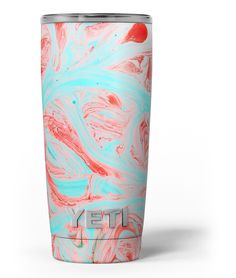 Swirling Pink and Mint Acrylic Marble Yeti Rambler Skin Kit from DesignSkinz