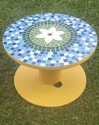 Mosaic Crafts, Mosaic Art, Mosaic Glass, Mosaic Tiles, Mosaics, Mosaic Tile Designs, Mosaic Patterns, Cable Spool Tables, Cable Spools
