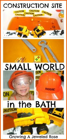 Turn the bath into a construction site for some fabulous small world play your child can get INTO!