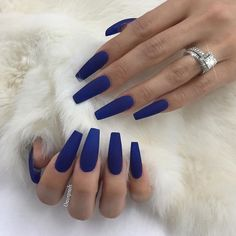 ✨ blue acrylic nails, blue matte nails, navy blue nails, blue c Dark Blue Nails, Blue Matte Nails, Blue Coffin Nails, Blue Acrylic Nails, Cobalt Blue Nails, Matte Nail Polish, Uñas Fashion, Hot Nails, Cuffin Nails