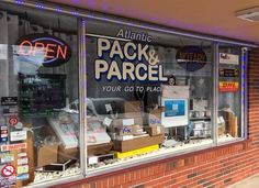 Pick, Pack and Plunder store window - Your Go To Place is also your local fulfillment and shipping center! Do you sell online, let us help you so you can focus on your business and not the picking, packing and shipping! Store Windows, Selling Online, Packing, Neon Signs, Business, Display Cases, Bag Packaging, Store, Business Illustration