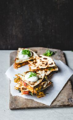 Apricot Salsa Quesadillas (with apricot, tomato, green bell pepper & cheese)