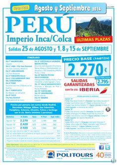 PERÚ-Imperio Inca/Colca,sal. 15 de Septiembre dsd Mad, Bcn, Agp, Bio, Pmi...(14d/12n) p.final 2.795€ ultimo minuto - http://zocotours.com/peru-imperio-incacolcasal-15-de-septiembre-dsd-mad-bcn-agp-bio-pmi-14d12n-p-final-2-795e-ultimo-minuto/