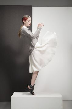 Minimalist / Minimalist beauty / Mika mixed media top / White button down / Gray sweater/ Shirt / Blouse /Mute by Joanne Lu /SaturdayProject