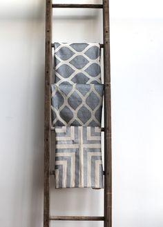 aya metallic silver & off-white handprinted organic hemp pillow cover