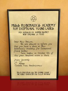 AMERICAN HORROR STORY Acceptance Letter A3 Print on Etsy, $14.61....frame it baby!