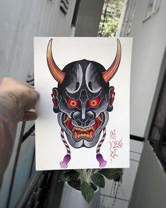 Japanese Mask Tattoo, Japanese Tattoo Designs, Japan Tattoo Design, Sketch Tattoo Design, Kunst Tattoos, Tattoo Drawings, Hannya Mask Tattoo, Traditional Tattoo Art, Japanese Artwork