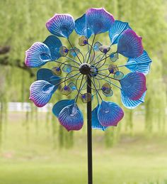 Blue and Magenta Peacock Spinner in Wind Spinners