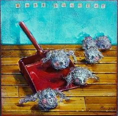 """Dust Bunnies by Angie Rees Acrylic ~ 10"""" x 10"""""""
