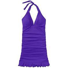 I've been looking for an old schoolish tall swimdress for eons. EUREKA! Shirrendipity Halter Swim Dress   Athleta