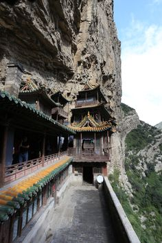 The Hanging Temple (also Hanging Monastery), around 500 AD. near Mount Heng in Hunyuan County, Datong City, Shanxi province, China