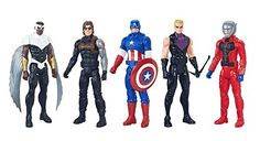 Marvel Avenger's Titan Hero Series Exclusive 5 Figure Set. Each Marvel Titan Hero Series figure is 12 inches tall and has basic articulation. Pack of 5 Titan Hero Series figures, including Captain America, Marvel's Falcon, Ant-Man, Winter Soldier, and Marvel's Hawkeye. Includes 5 figures and 4 accessories. Weight: 5.51 pounds. Suggested Age: 4 Years and Up. These Super Heroes are ready to team up and face off in a super battle unlike anything the world has ever seen!.