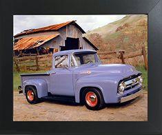 16x20 Black Ford F 100 Pick Up Vintage Truck Wall Decor Art Print Poster