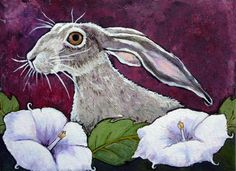 """Moonflower Jackrabbit"" - Original Fine Art for Sale - © Ande Hall"