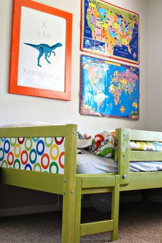Ikea loft bed like the boys have. I want to repaint ours too. Love the idea of recovering the panels on the bed.