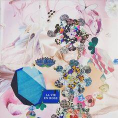"""""""La vie en rose"""" Détail (link in my bio) #artwork#collage #colors #flowers #pink #pinkflamingo #mywork #instaart #design #artist #art #myart"""