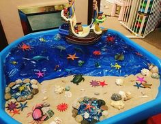 tuff tray ideas, land and sea Eyfs Activities, Nursery Activities, Indoor Activities, Infant Activities, Activities For Kids, Baby Sensory Play, Sensory Bins, Tuff Tray Ideas Toddlers, Tuff Spot
