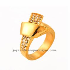stainless steel ribbon ring in 18k gold -SSRGG37590