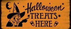 Primitive witch Halloween Treats Here sign Decorations primitives vintage Wood Signs Plaques Witches Trick or Treat Witchcraft folk art prop by SleepyHollowPrims, $24.30 USD