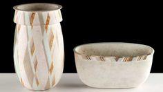Elizabeth Fritsch, Counterpoint Vase in Twelve Tones & Optical Bowl with Fractured Rim