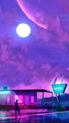 ArtStation - The Cyberpunk Hotel, Muhammad Nafay / Insta: Iphone Wallpaper Tropical, Vaporwave Art, Cyberpunk Art, Crayon Art, Melting Crayons, Artist Names, Art Education, Art Day, Northern Lights