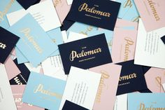 Logotype and business cards with gold foil detail designed by Here for Soho restaurant The Palomar