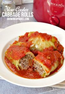 Slow cooker cabbage rolls are moister and more flavorful than ones baked in the oven. Stuffed with beef and rice and simmered in a tomato sauce all day long, this comfort food makes enough to feed families.