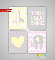 I think these are the colors and theme I want for the nursery. Yellow, Grey, Pink, animals.