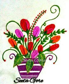 My rangoli. My flower pot Kolam Rangoli, Simple Rangoli, Rangoli Designs Flower, Flower Pots, Flowers, Flower Arrangements, Party Ideas, Flower Vases, Plant Pots